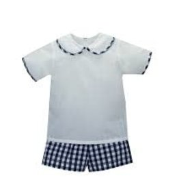 LullabySet Boys Navy Big Gingham Short Set