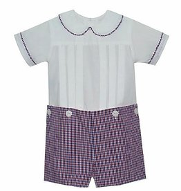 LullabySet Boys Red and Navy Plaid Button On