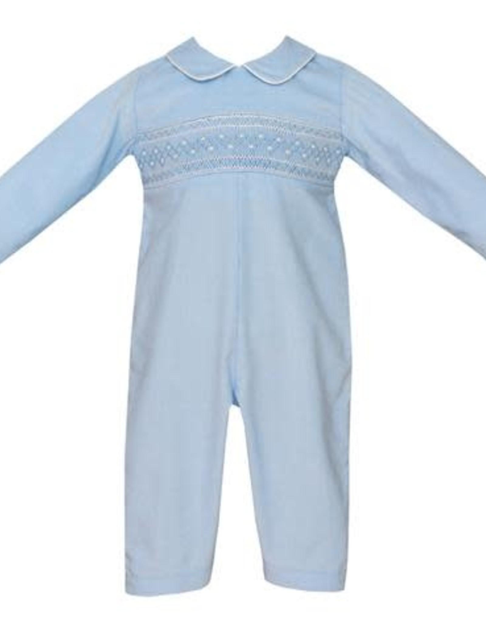 Petit Bebe Noah Boy's Long Bubble Light Blue Corduroy With White Smocking