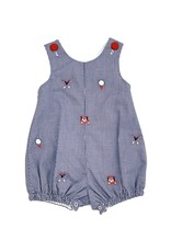 Zuccini Embroidery Boy Golf Sunsuit Navy Gingham