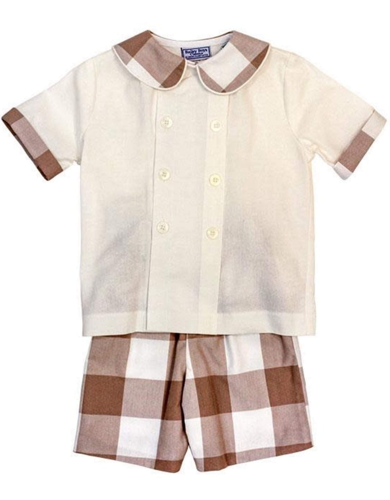 The Bailey Boys Champagne Buffalo Check Dressy Bub Short Set