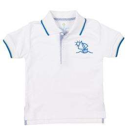 Florence Eiseman Boys Sailboat Polo White/Blue