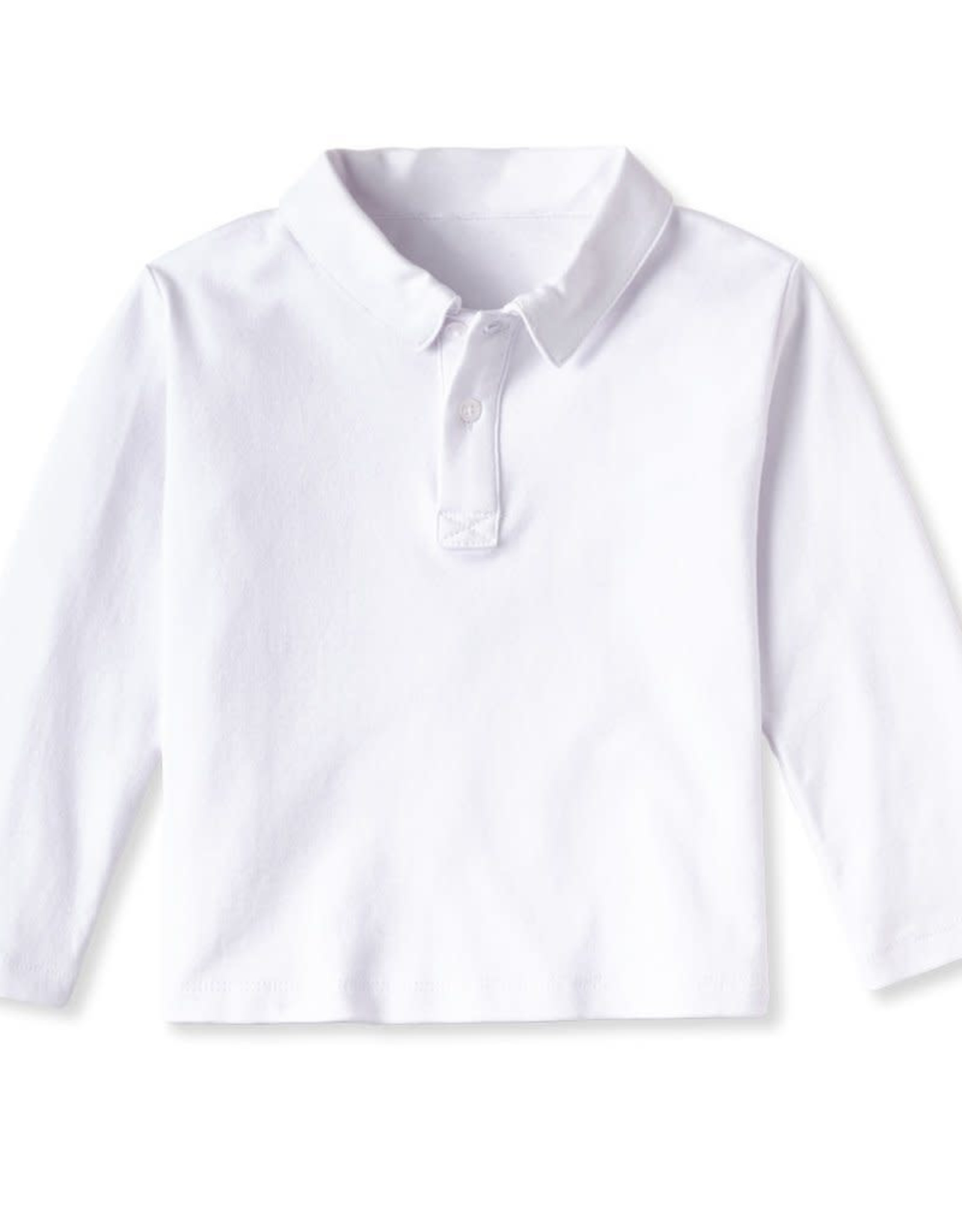Classic prep Henry Long Sleeve Polo Shirt White