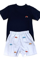 Zuccini Classic Navy Short and Shirt Set Car Embroidery