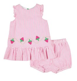 Florence Eiseman Seersucker Strawberry Top and Bloomer Set