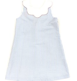 Claire and Charlie Light Blue Seersucker Shift Dress With Scallop Collar
