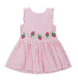 Florence Eiseman Pink and White Striped Seersucker Strawberry Dress