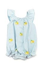 Zuccini Angel Sleeve Bubble Mint Seersucker with Lemon Embroidery