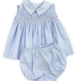 Pixie Lilly Blue Smocked Gingham Dress With Bloomers