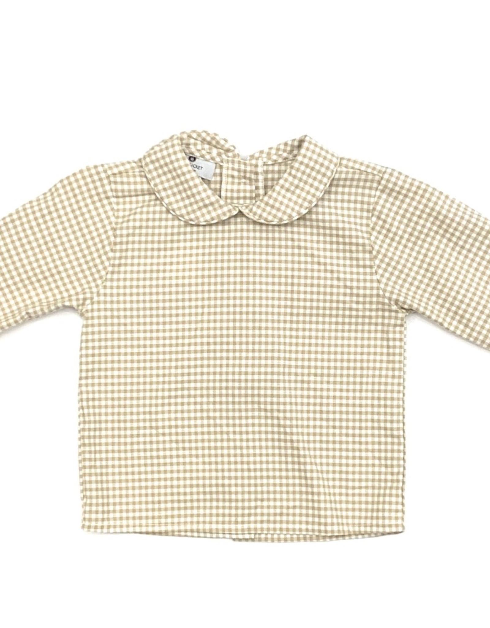 Nantucket Kids Peter Pan Collar Sand Gingham Long Sleeve