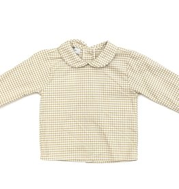 Nantucket Kids Peter Pan Collar Sand Gingham Long Sleeve