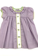 Lulu Bebe LLC Mardi Gras Embriodered Lavander Dress