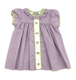 Lulu Bebe LLC Mardi Gras Embroidered Lavender Dress