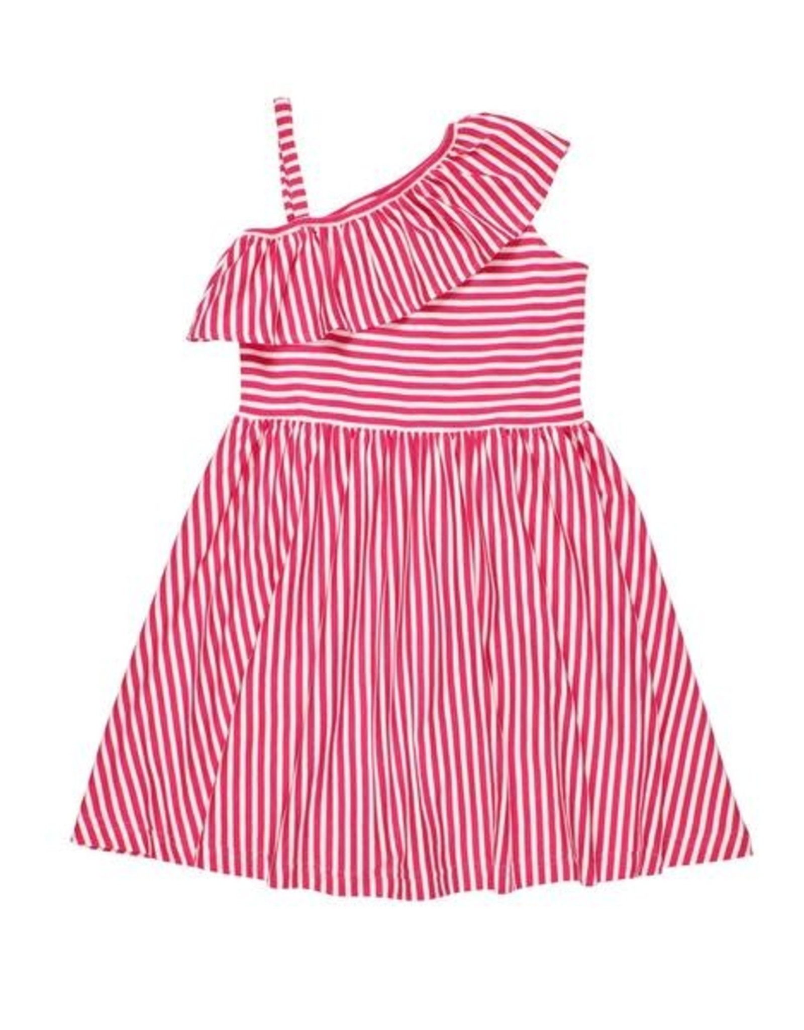 Florence Eiseman One Shoulder Ruffle Dress Red/White Striped