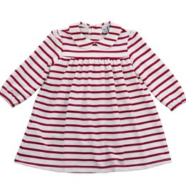 Busy Bees Ginny Peter Pan Dress Cranberry Stripe Dress