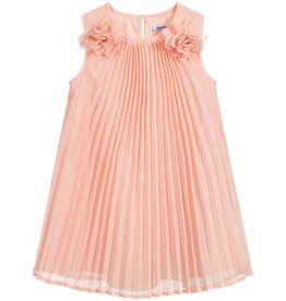 Mayoral Peach Pleated Flower Dress