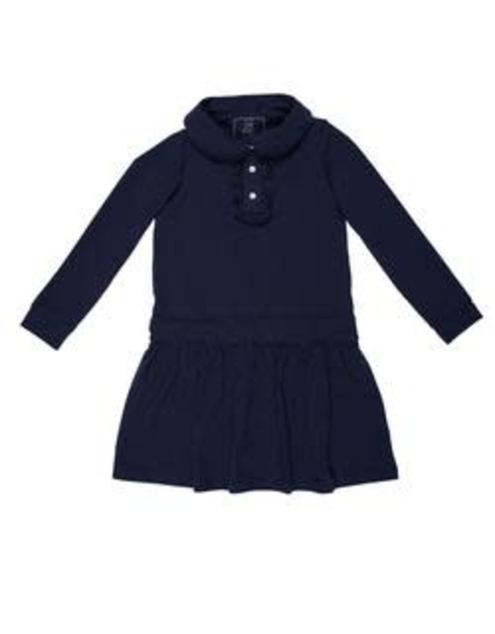 Lila and Hayes Long Sleeve Dress With Ruffle Placket Collar Navy