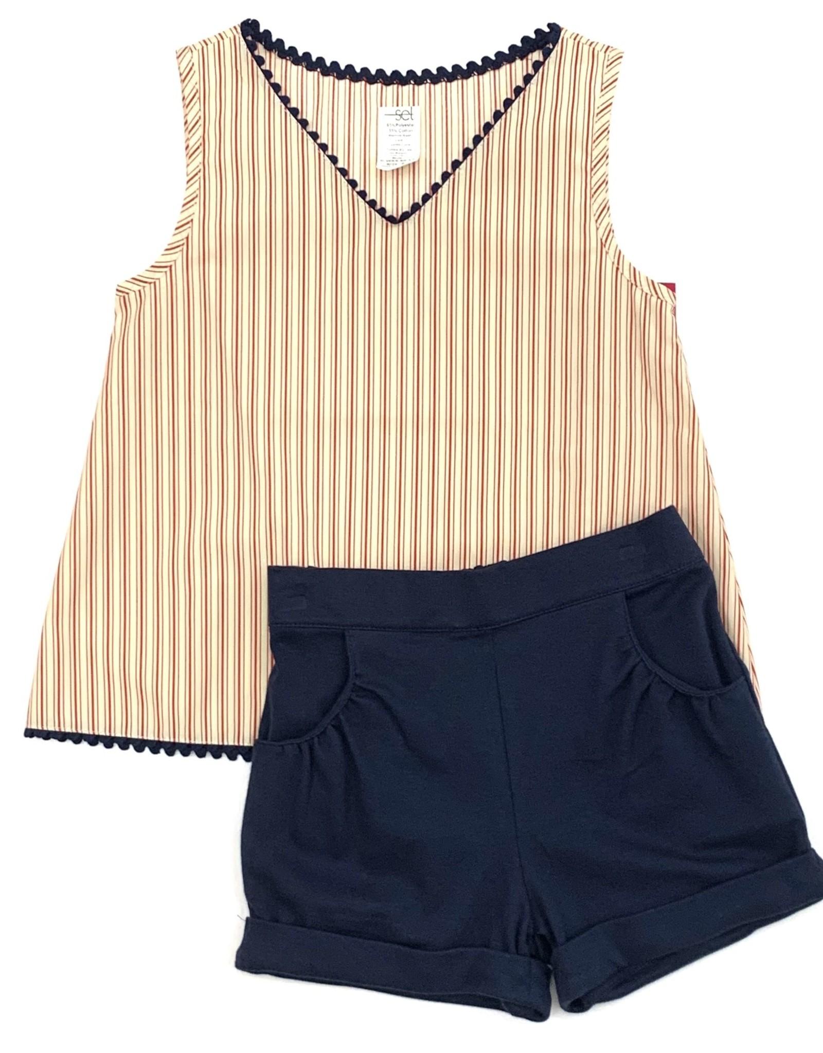 LullabySet Sadie Red Vintage Stripe Tee and Navy Shorts Set