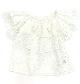 Mayoral White Ruffled Off The Shoulder Blouse