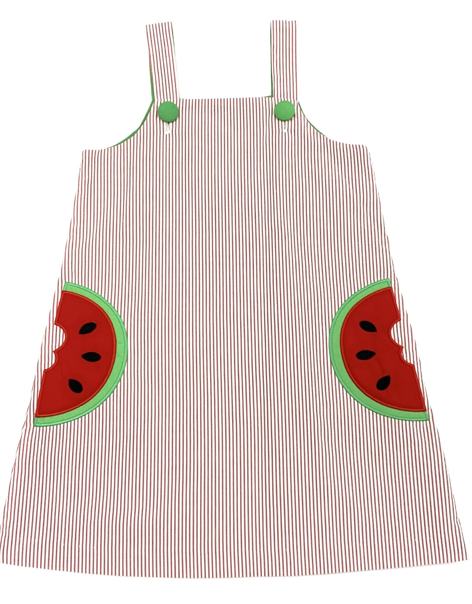 Zuccini Applique Girl Watermelon Dress Seersucker Reg Stripe