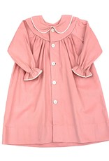 LullabySet Girls Pink Cord Dress Buttons White Piping