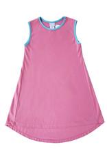 SET Danielle Pink Dress With Blue Trim