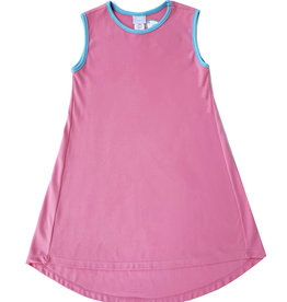 SET Danielle Pink Dress With Blue Trim
