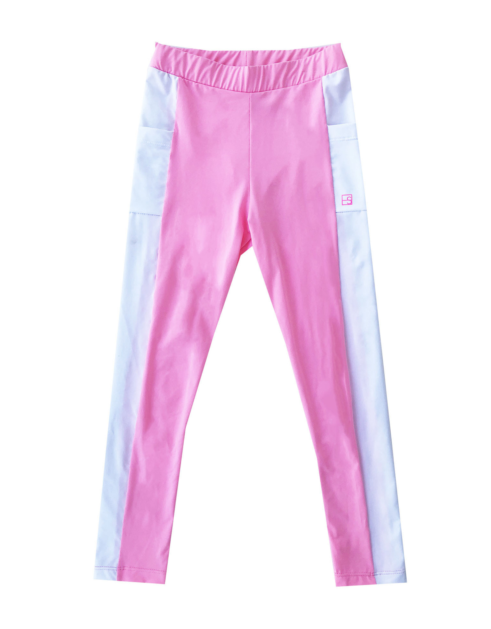 SET Lila pink leggings with white accents