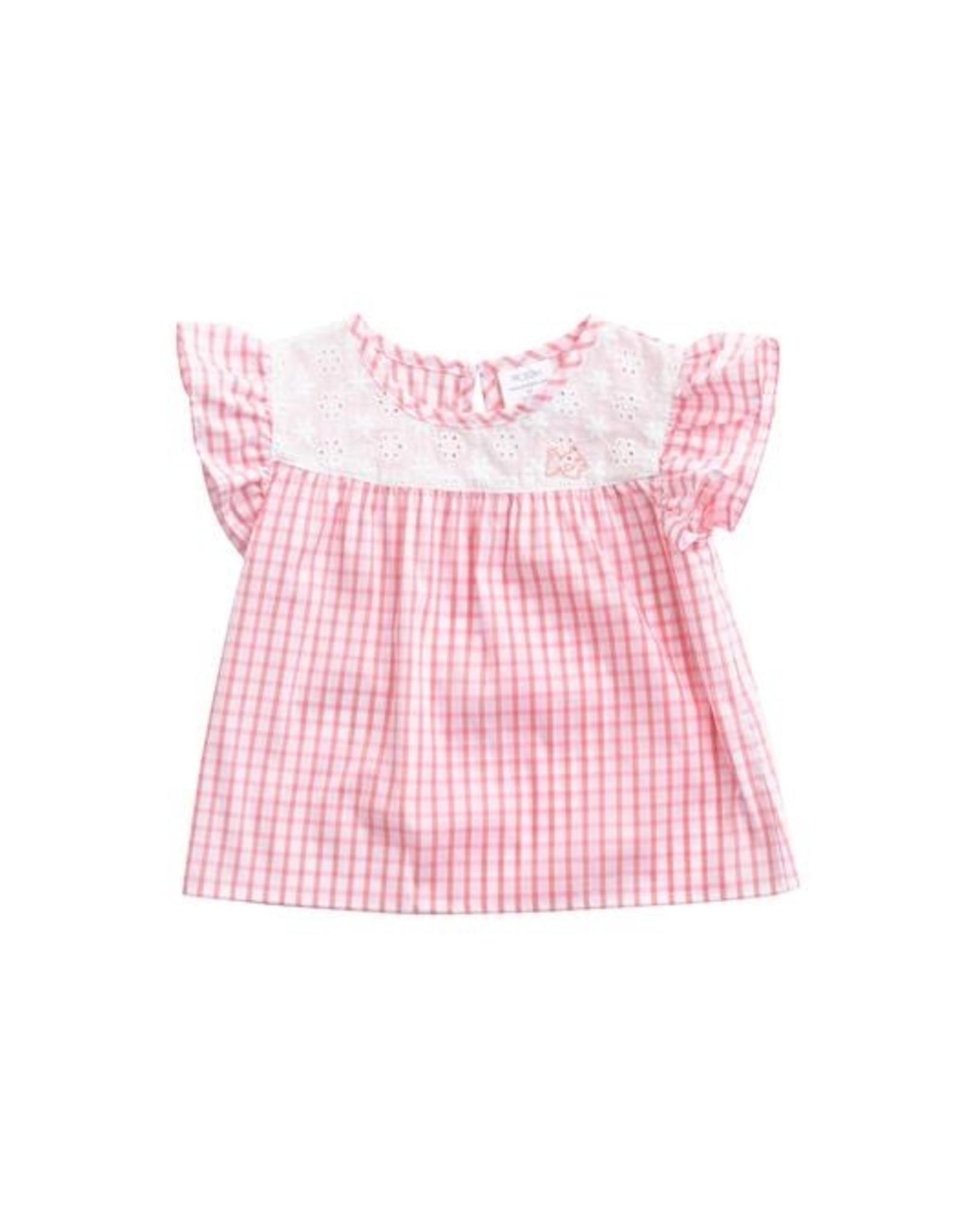 Prodoh Pink Windowpane Flutter Sleeve Top