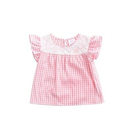 Prodoh Pink Windowpane Flutter Sleeve Top