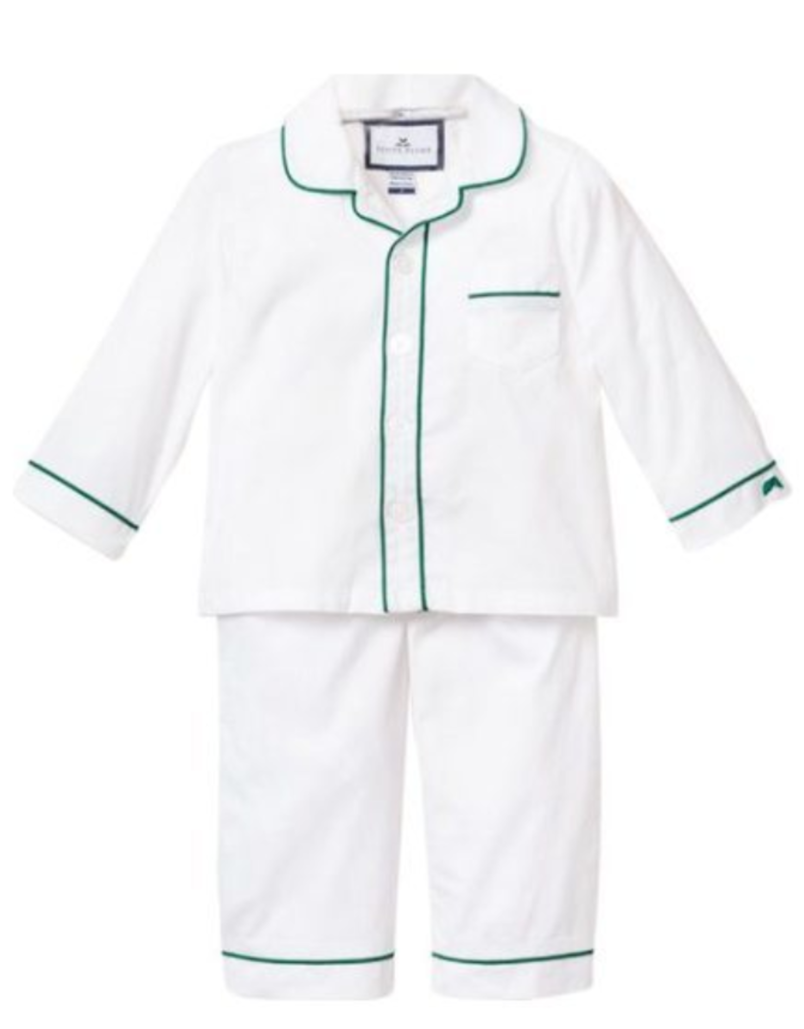 Petite Plume White PJs with Green Double Piping
