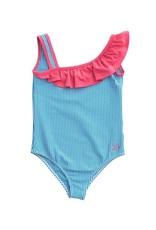 Prodoh One Shoulder Blue And White Seersucker Swimsuit