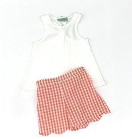 Sage and Lilly Rock the Boat Knot Back Tank Set- Coral Check