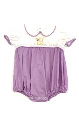 LullabySet Girls Tiger Embroidery Purple Gingham Bubble