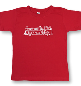 Honey Bee Tees Fire Truck Short Sleeve Tee Red