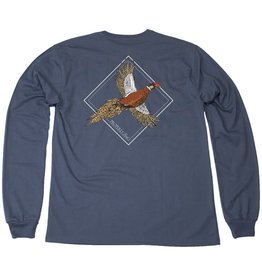 Properly Tied Flying Phesant Long Sleeve Stone Blue Tee