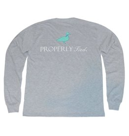 Properly Tied Lil Ducklings Classic Logo Long Sleeve Light Grey Heather 2T