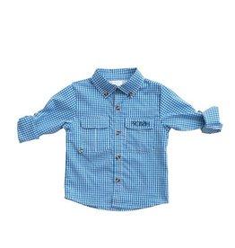 Prodoh Blue Windowpane Vented Back Fishing Shirt