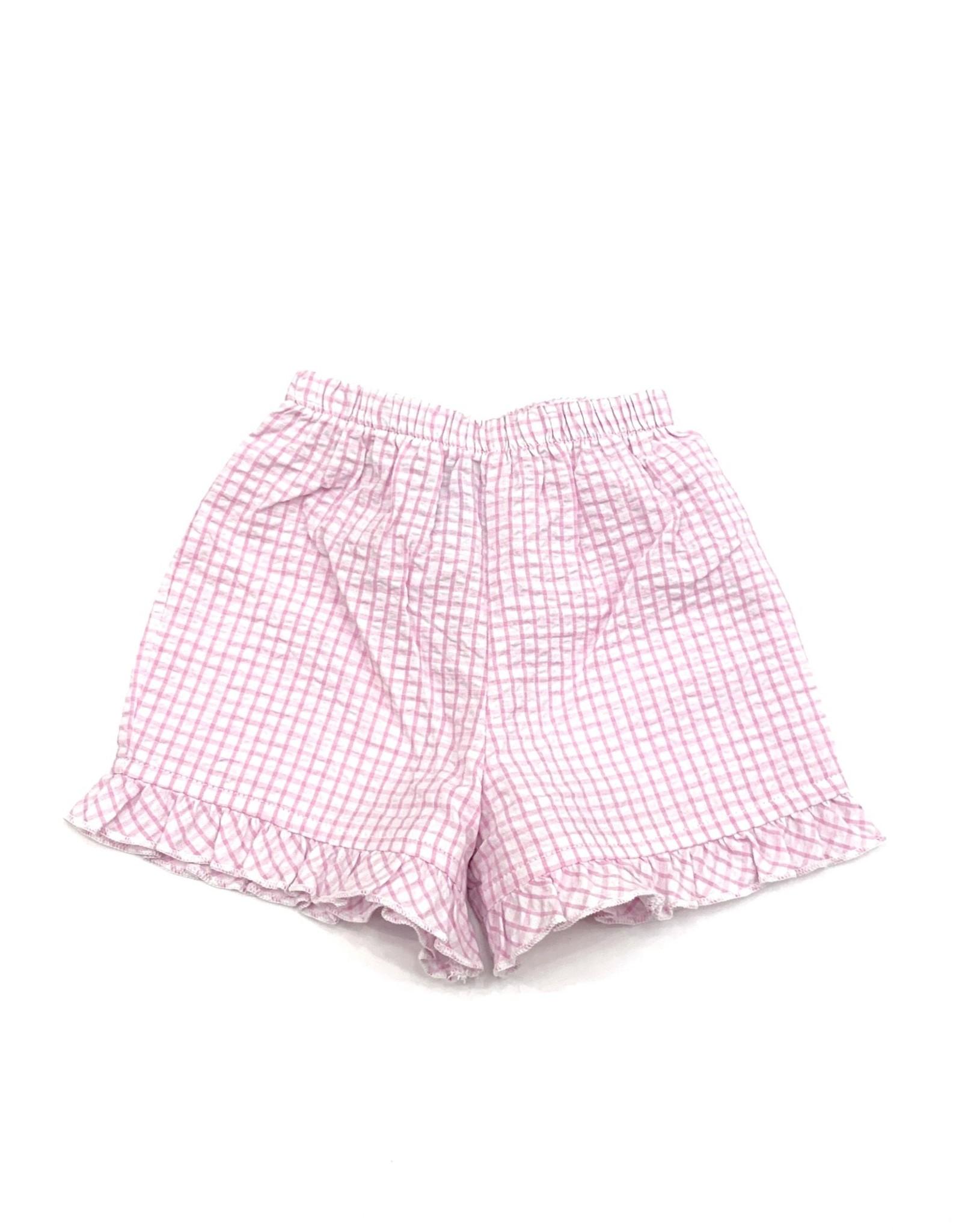 The Bailey Boys Light Pink Windowpane, Short With Ruffle