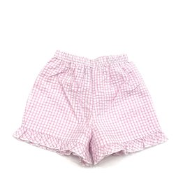 The Bailey Boys Light Pink Windowpane, Short With Ruffle