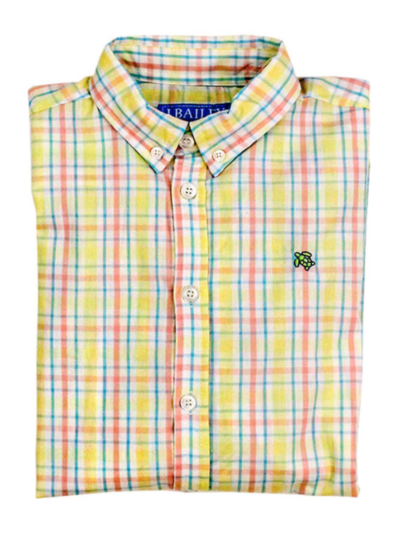The Bailey Boys Coral And Yellow Kiawah Button Down Shirt
