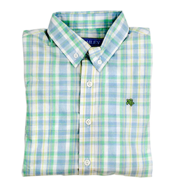 The Bailey Boys Montauk Blue Green Button Plaid Shirt