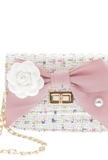 Doe a Dear Mini Boucle Bow Front Crossbody Bag White