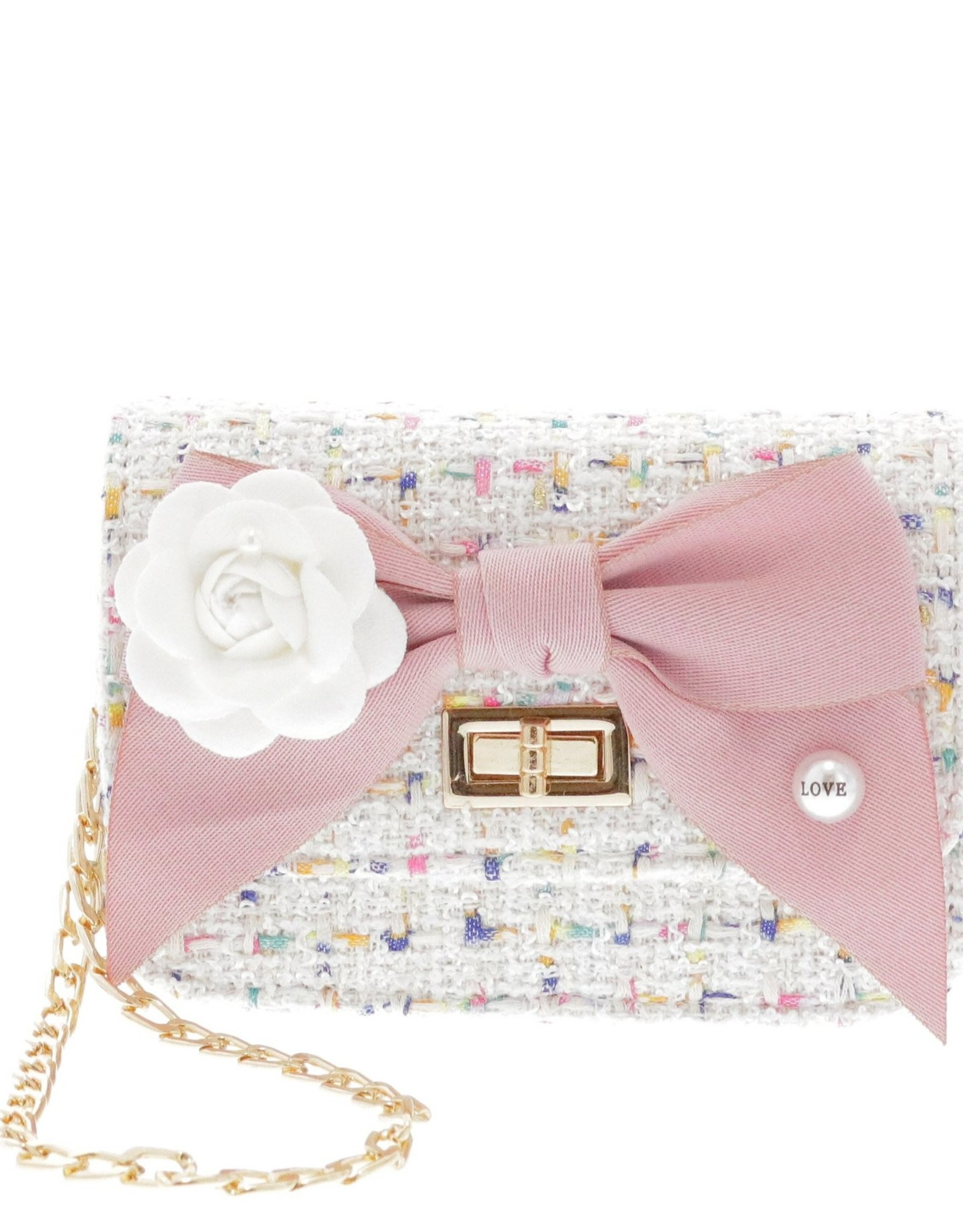 Mini Boucle Bow Front Crossbody Bag White