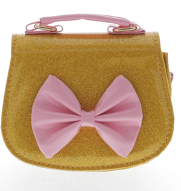 Doe a Dear Patent Horse Shoe Large Bow with Top Handle Bag Gold Glitter/Pink