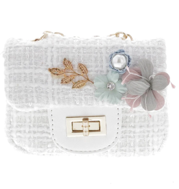 Doe a Dear Small Crossbody Tweed Purse with Applique White
