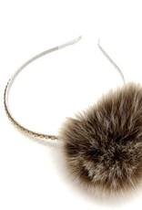 Bari Lynn Assorted Fur Pom Headbands With Stones