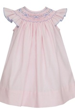 Petit Bebe Pink Striped Smocked Dress With Blue Bows