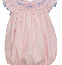 Petit Bebe Pink Striped Smocked Bubble With Blue Bows