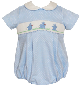 Petit Bebe Boys Blue Smocked Bubble With Bunnies And White Dots